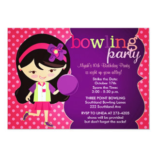 Girly Bowling Birthday Party Card