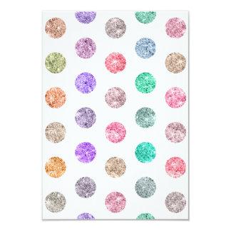 Girly Bright Mod Glitter Polka Dots Chic Pattern 9 Cm X 13 Cm Invitation Card
