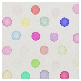 Girly Bright Pastel Rainbow Watercolor Polka Dots Fabric