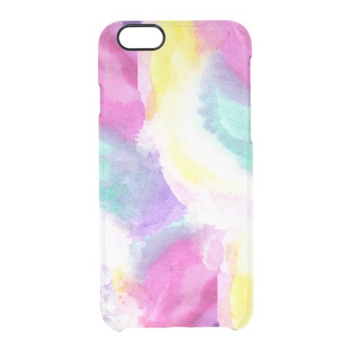 Girly bright pastel watercolor brush strokes Clear Iphone 6/6s Case