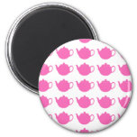 Girly Bright Pink Teapots Refrigerator Magnets