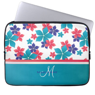 Girly Bright Spring Sakura Pattern Monogram Laptop Computer Sleeves
