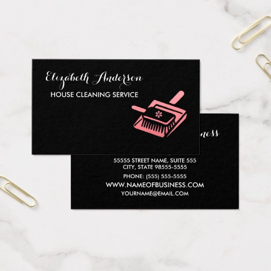 Girly Broom Pink and Black House Cleaning Service