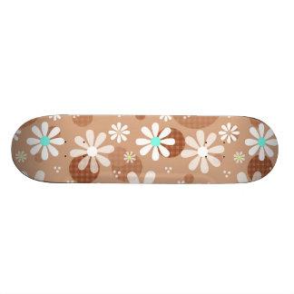 Girly Brown Daisy Flower Pattern Cute Aqua Dots Skateboards