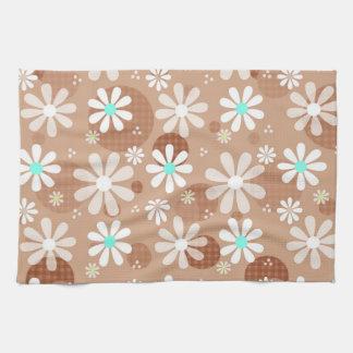 Girly Brown Daisy Flower Pattern Cute Aqua Dots Tea Towel