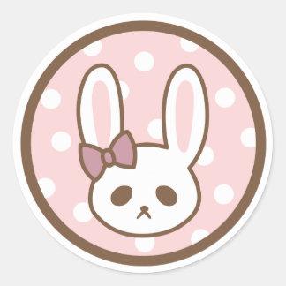 Girly Bunny by Yokute Round Sticker