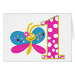 Girly Butterfly First Birthday Greeting Card