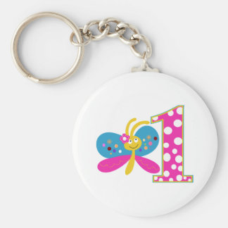 Girly Butterfly First Birthday Keychain