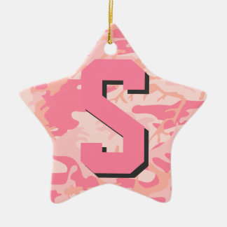 Girly Camo Pink Camouflage Initial Monogram Star Christmas Ornament