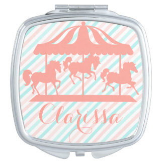 Girly Carousel Silhouette, Add Name Makeup Mirror