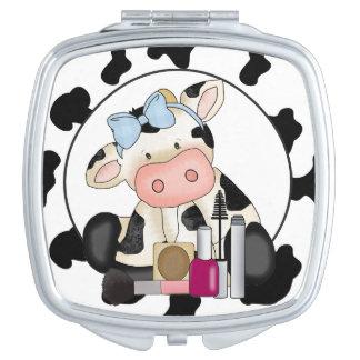 Girly Cartoon Cow makeup mirror