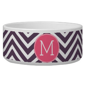 Girly Chevron Pattern with Monogram - Pink Purple