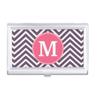 Girly business card holders cases zazzle girly chevron pattern with monogram pink purple business card holder colourmoves