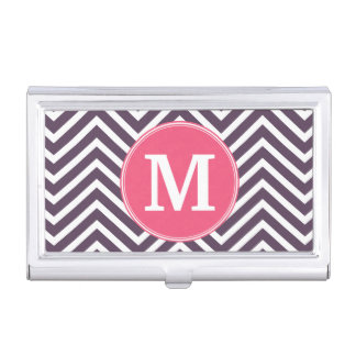 Girly Chevron Pattern with Monogram - Pink Purple Business Card Holder