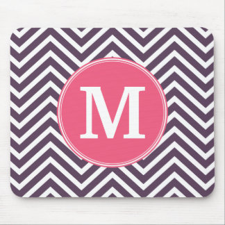 Girly Chevron Pattern with Monogram - Pink Purple Mouse Mat