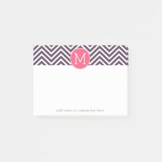 Girly Chevron Pattern with Monogram - Pink Purple Post-it Notes