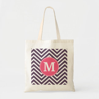 Girly Chevron Pattern with Monogram - Pink Purple Tote Bag