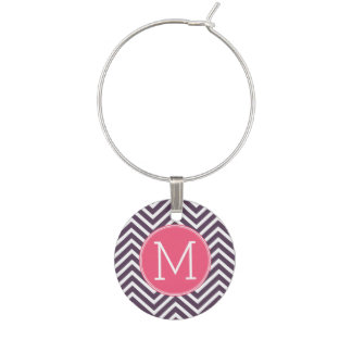 Girly Chevron Pattern with Monogram - Pink Purple Wine Charm