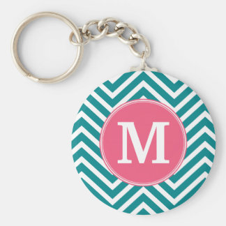 Girly Chevron Pattern with Monogram - Pink Teal Basic Round Button Key Ring