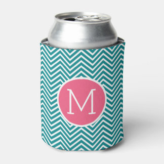 Girly Chevron Pattern with Monogram - Pink Teal Can Cooler