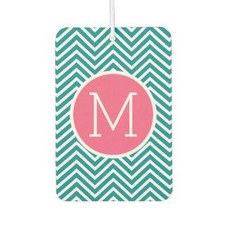 Girly Chevron Pattern with Monogram - Pink Teal Car Air Freshener