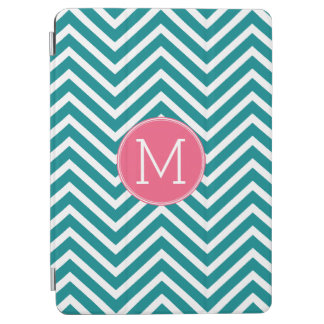 Girly Chevron Pattern with Monogram - Pink Teal iPad Air Cover