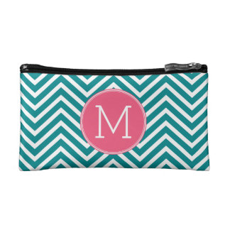 Girly Chevron Pattern with Monogram - Pink Teal Makeup Bag