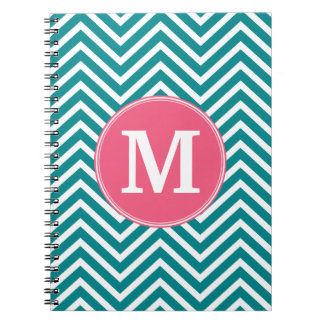 Girly Chevron Pattern with Monogram - Pink Teal Notebooks