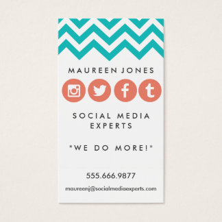 Girly Chevron Teal and Peach Social Media Card