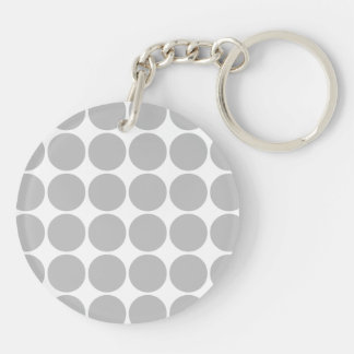 Girly Chic Accessory Party Treat Silver Polka Dots Double-Sided Round Acrylic Key Ring