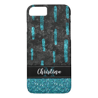 Girly Chic Black Teal Bling Trendy Monogram iPhone 8/7 Case