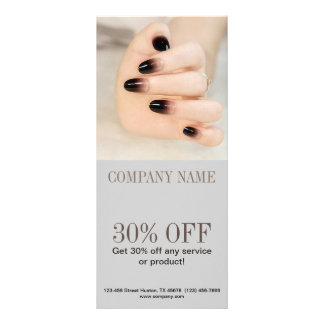 girly chic elegant manicure nails nail salon rack card