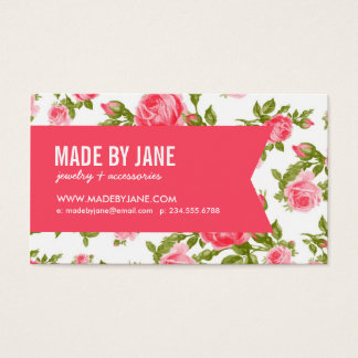 Girly Chic Elegant Vintage Floral Roses & Ribbon Business Card