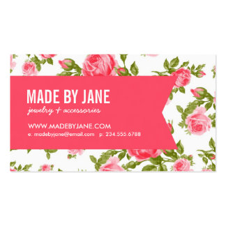 Girly Chic Elegant Vintage Floral Roses & Ribbon Pack Of Standard Business Cards