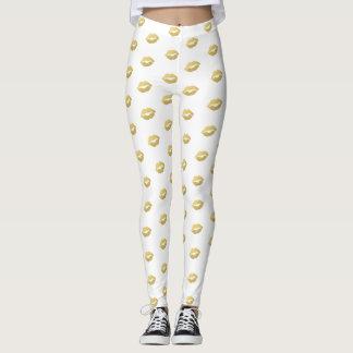Girly Chic Faux Gold Foil Lips Pattern Leggings