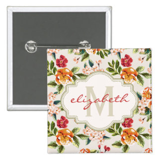 Girly Chic Floral Pattern with Monogram Name Pins