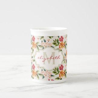 Girly Chic Floral Pattern with Monogram Name Bone China Mug