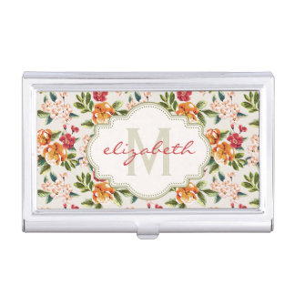 Girly Chic Floral Pattern with Monogram Name Business Card Holder