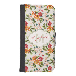 Girly Chic Floral Pattern with Monogram Name iPhone SE/5/5s Wallet Case