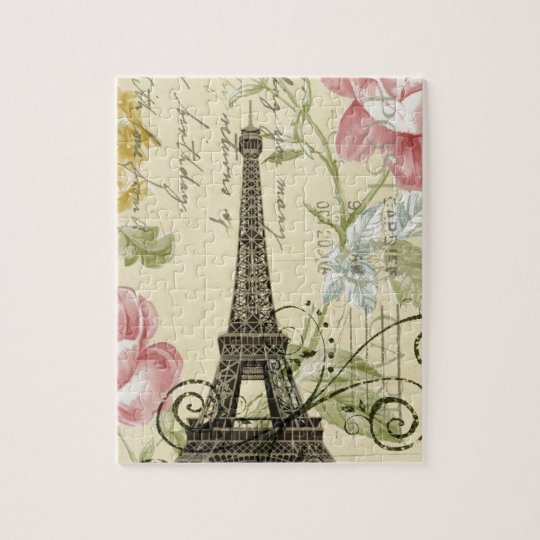 Girly Chic floral Vintage Paris Eiffel Tower Jigsaw