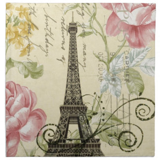 Girly Chic floral Vintage Paris Eiffel Tower Napkin