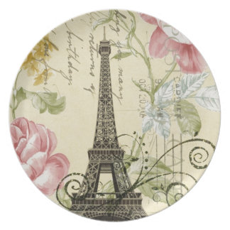 Girly Chic floral Vintage Paris Eiffel Tower Plate