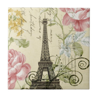 Girly Chic floral Vintage Paris Eiffel Tower Small Square Tile