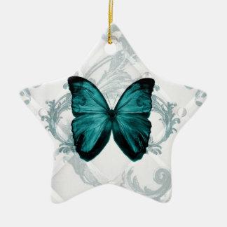 Girly Chic Flourish Bohemian Teal Butterfly Ceramic Star Decoration