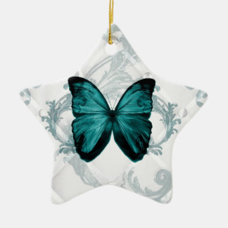 Girly Chic Flourish Bohemian Teal Butterfly Christmas Ornament