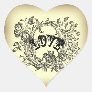 girly chic flourish swirl pastel colors victorian heart sticker