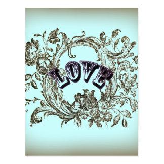 girly chic flourish swirl pastel colors victorian postcard
