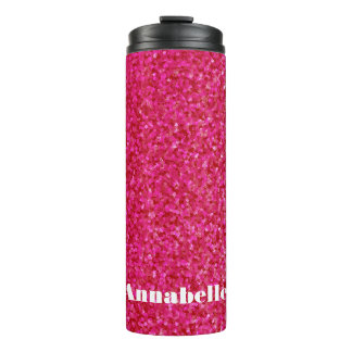 Girly chic glossy shine hot pink personalized thermal tumbler