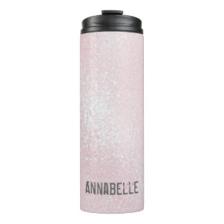 Girly chic glossy shine light pink personalized thermal tumbler
