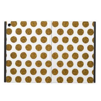 Girly Chic Gold Polka Dots Glitter Photo Print iPad Air Cover